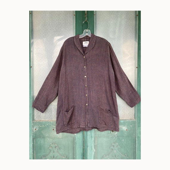 Flax by Jeanne Engelhart Temperate 1999 Gentle Jacket -L- Vineyard Bark Cloth Linen