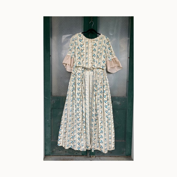 Vintage Colonial Reproduction Reenactment Costume Dress Turquoise Floral Cotton