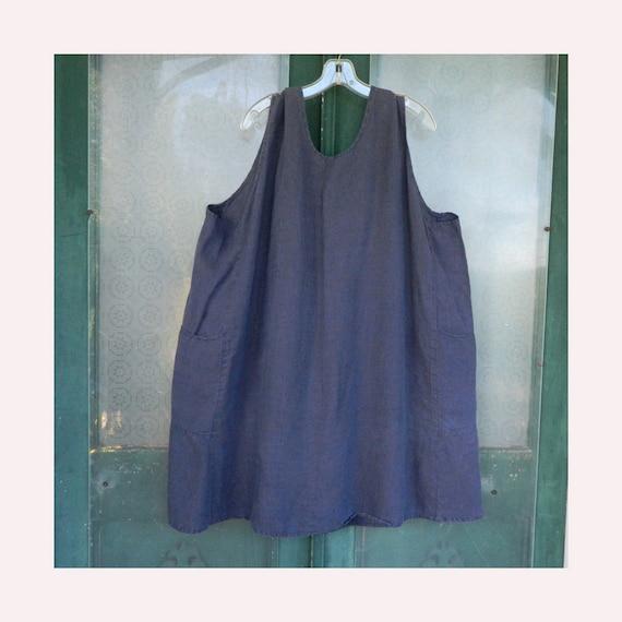 FLAX by Jeanne Engelhart Everybody's Gratified Short Linen Tunic Jumper -3G/3X- Steel Blue Linen