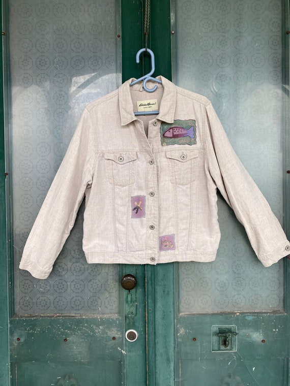 Funky Fishy Artsy Upcycled Linen Jean Jacket -L-