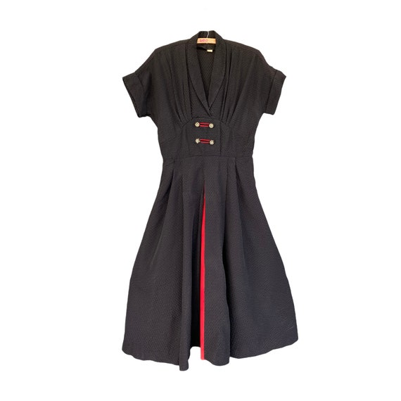 1950s Vintage Rockabilly Black and White Dress