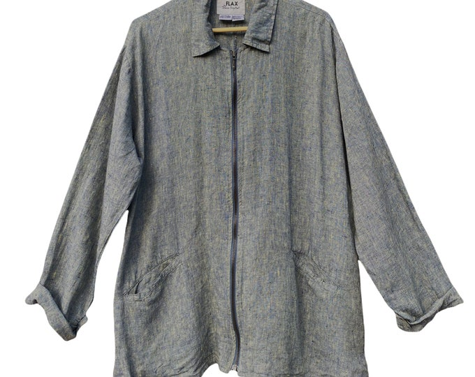 FLAX Basic 2001 Zip Jacket -L- Yarn-Dyed Blue Yellow Linen