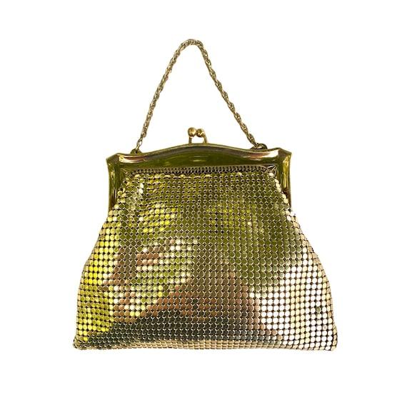 Vintage Whiting & Davis Goldtone Chain Mesh Mini Evening Handbag