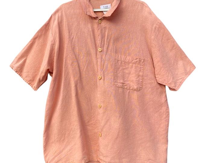 FLAX Engelhart Basic 1993 Camp Shirt -S- Peach Linen