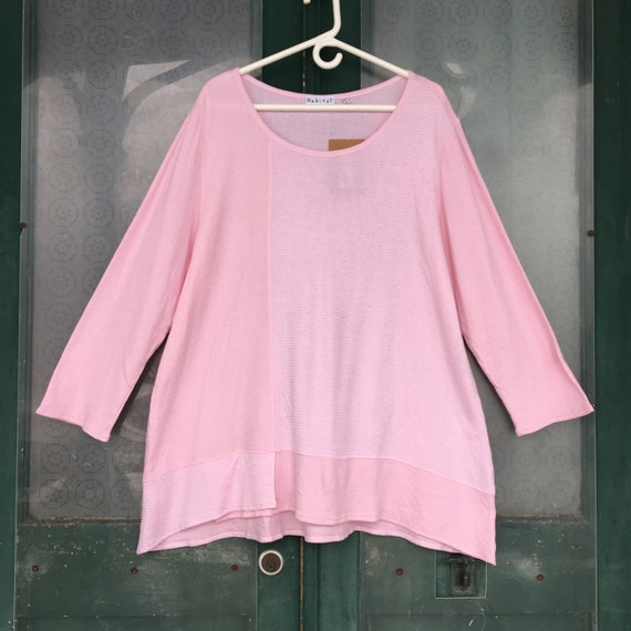 Habitat Pullover Tunic -XL- Pale Pink and White Thin Stripe Cottpn/Rayon Jersey NWT