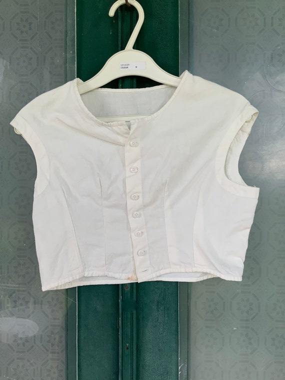Antique Victorian Edwardian White Cotton Cropped Camisole