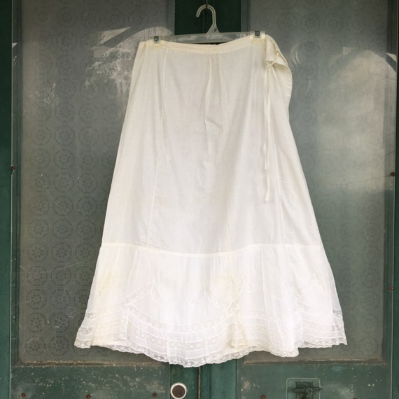 Vintage White Cotton Lace Petticoat Slip