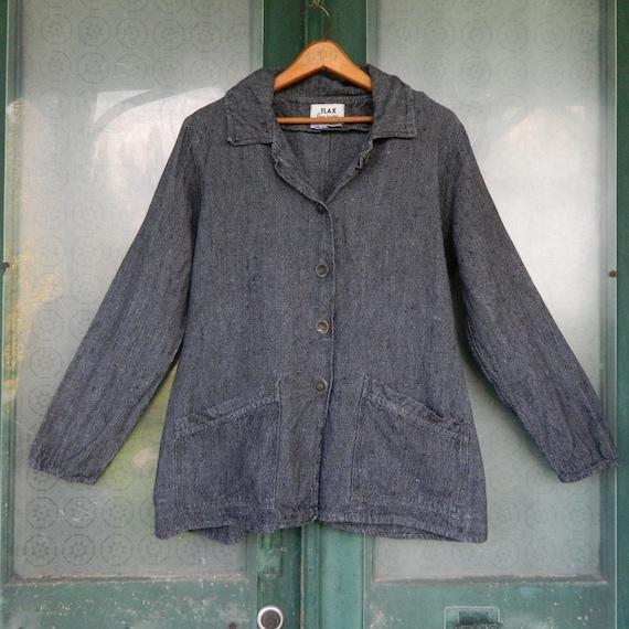 FLAX Engelheart Shapely Jacket -M- Yarn-Dyed Gray Heavy Weight Linen