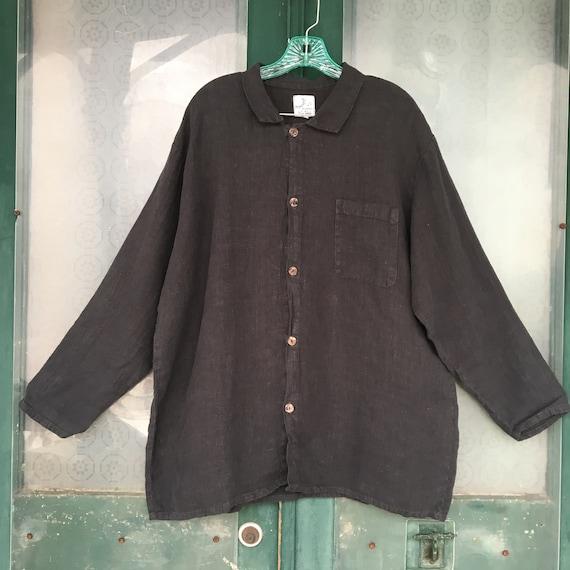Via Vai by Pollero Long Sleeve Shirt -L- Dark Gray Linen