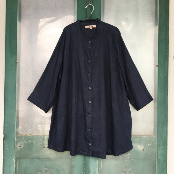 FLAX Engelhart Long Tab Collar Tunic -2G/2X- Navy Blue Linen