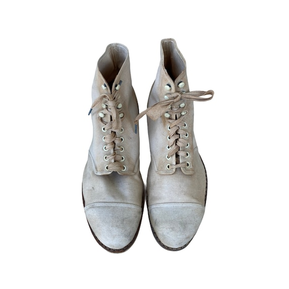 Edwardian Lace Up White Canvas Boots