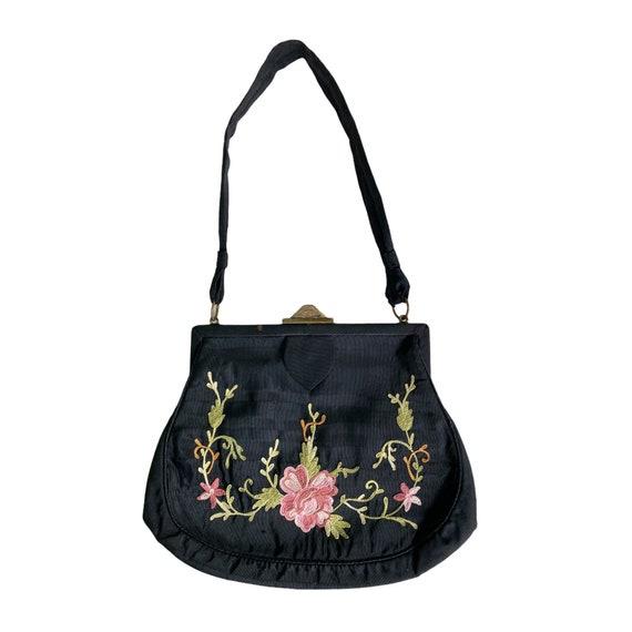 Victorian Floral Chain Stitch on Black Silk Handba