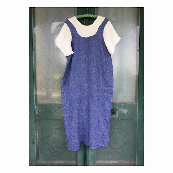 FLAX Engelheart Summer 2002 Fake You Out Dress -S- Blue Striation Linen