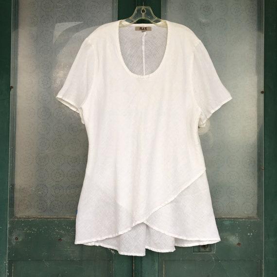 FLAX Designs Wig Wag Tee -2G/2X- White Handkerchief Linen