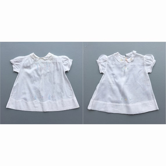 Pair of Vintage Cotton Infant Dresses with Pastel Embroidery