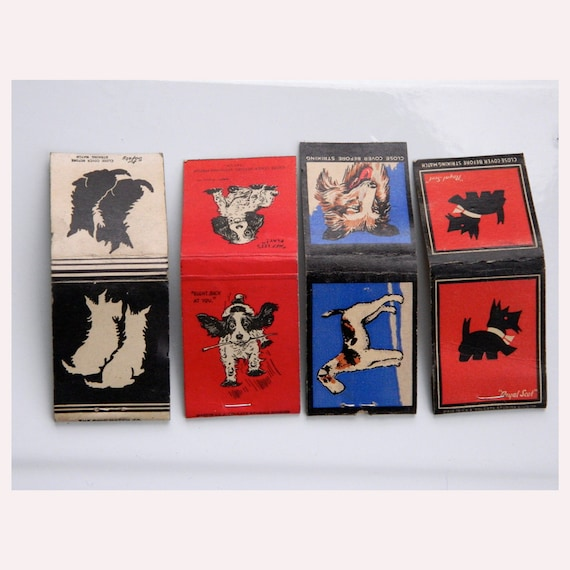 Lot of 4 Dog Vintage Matchbook Covers