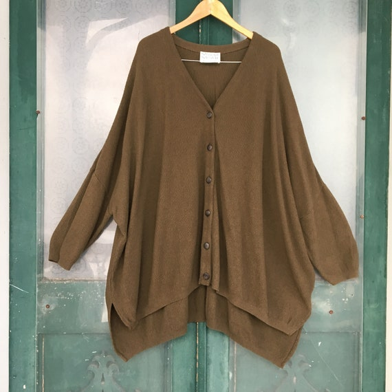 Stephanie Schuster Slouchy Cardigan Sweater -OS- Green/Brown Cotton/Rayon