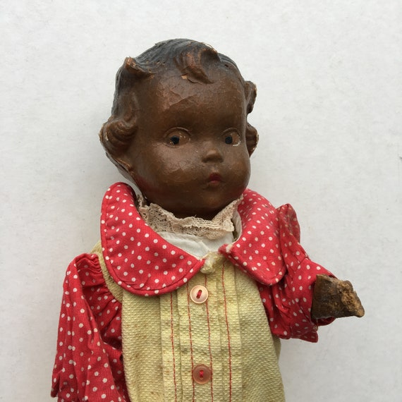 "Vintage 12"" Brown Composition Doll"