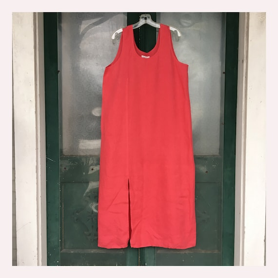FLAX Designs Spring Bold 2004 Front Slit Slipster Dress -L- Watermelon Pink Linen