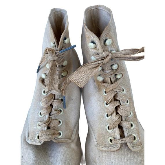 Edwardian Lace Up White Canvas Boots - image 6