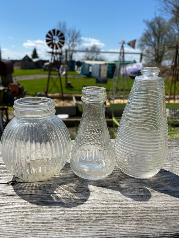 Collection of 3 Vintage Ribbed Glass Bottles