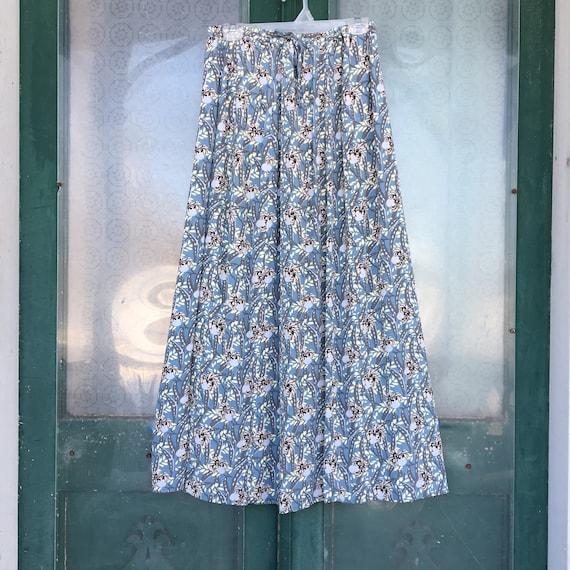 FLAX Engelhart Thinking Tropics 2004 A-line Skirt -L- Blue Sweet Pea Rayon