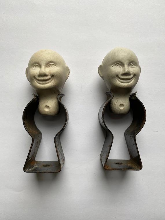 Original Sculptural Assemblage - Pair of Smiling Heads