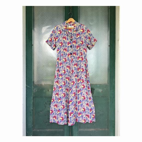 FLAX Engelhart Thinking Tropics Short-Sleeve Retro Dress -S- Sweet Pea Rayon