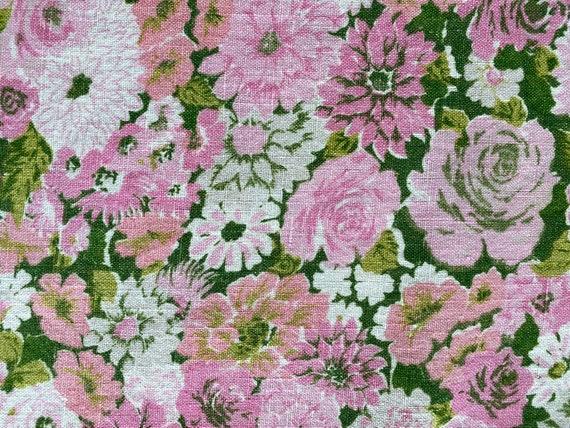 "Vintage Pink Floral Linen Tablecloth 88"" x 52"""