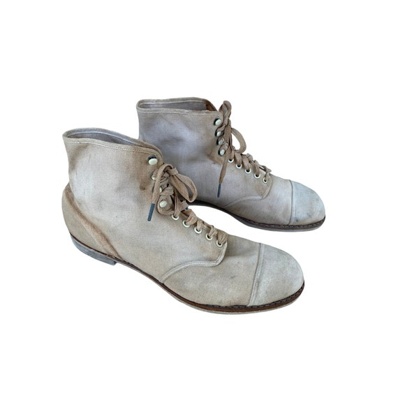 Edwardian Lace Up White Canvas Boots - image 3
