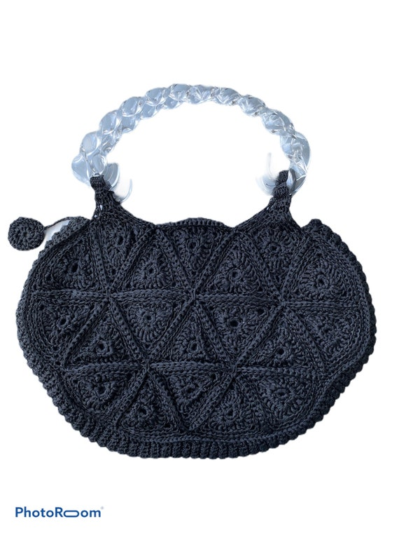 Vintage Black Crocheted Purse with Twisted Lucite Handles