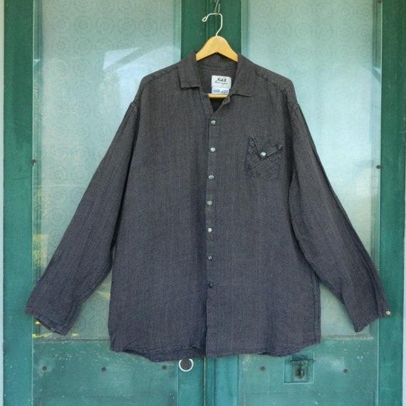 FLAX Engelhart Temperate 1999 Long-Sleeve Shirt -L- Vineyard Bark Cloth Linen