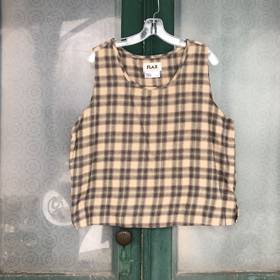 FLAX Flannel Tank Top -L- Beige & Black Plaid Cotton