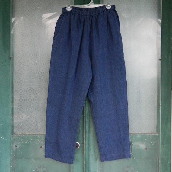 FLAX Engelheart Straight Pants -M- Indigo Denim Blue Linen