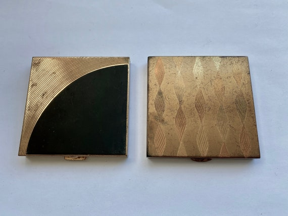 Pair of Vintage Square Mirror and Powder Compacts by Volupte and Wadsworth