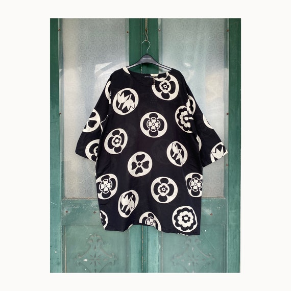 Gudrun Sjoden Bold Print Tunic Dress -XL- Black & White Linen and Cotton NWT