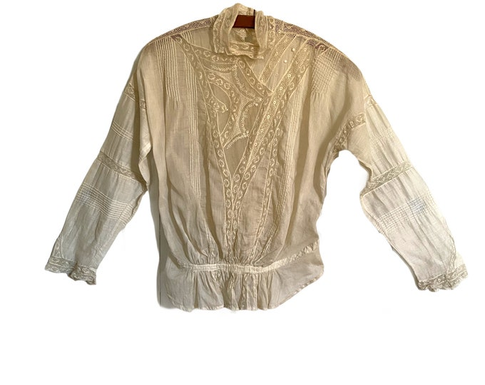 Victorian Cotton Lawn Blouse with Lace Pintucks Satin Stitch