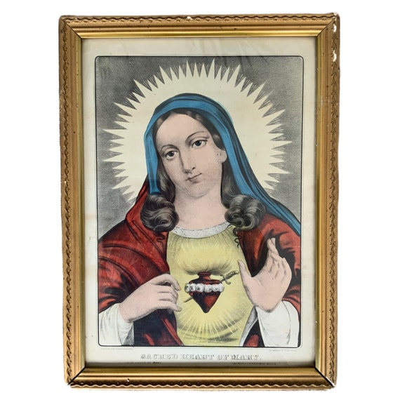 Currier & Ives Sacred Heart of Mary Framed Print