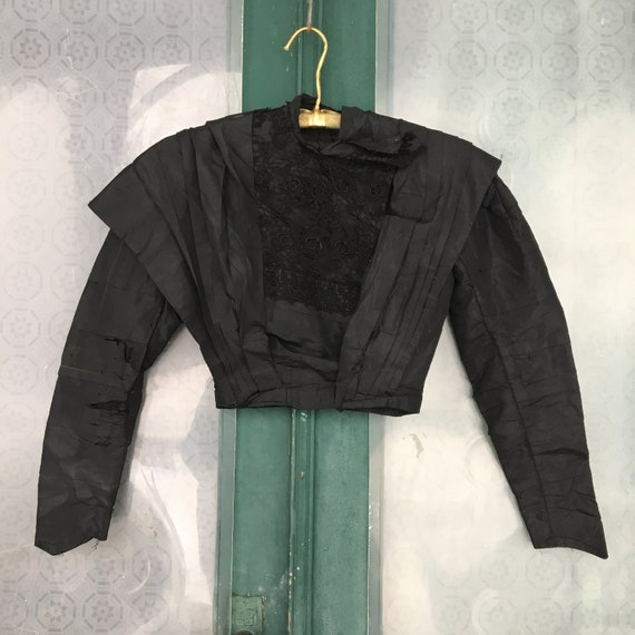 Edwardian Pleated Black Shirtwaist Blouse