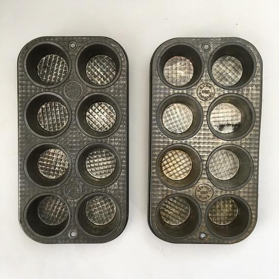 Pair of Vintage ECKO 8 Muffin Tins