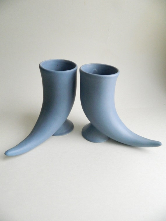 Pair of Blue Ceramic Horn Steins