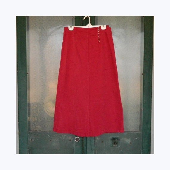 FLAX Engelhart A-Line Skirt -S- Red Stretch Micro-Cord