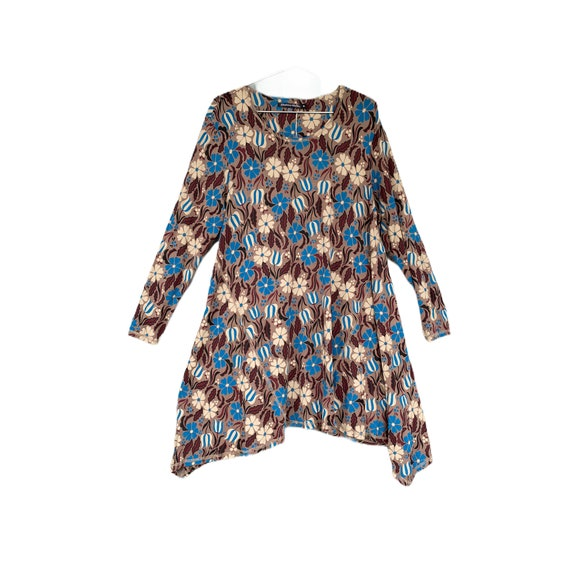 Gudrun Sjödén Singa Dress -XL- Floral Teal Brown Beige Modal Elastane Jersey NWT