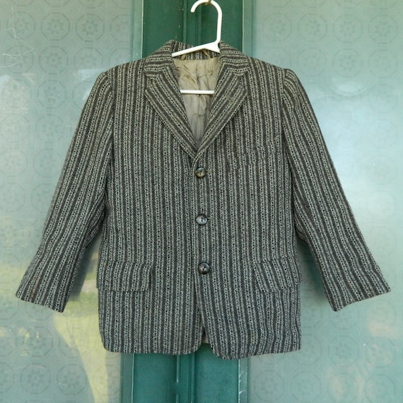 Vintage Jr. Gent of Rutgers Man Tailored Striped Wool Jacket for a Small Child