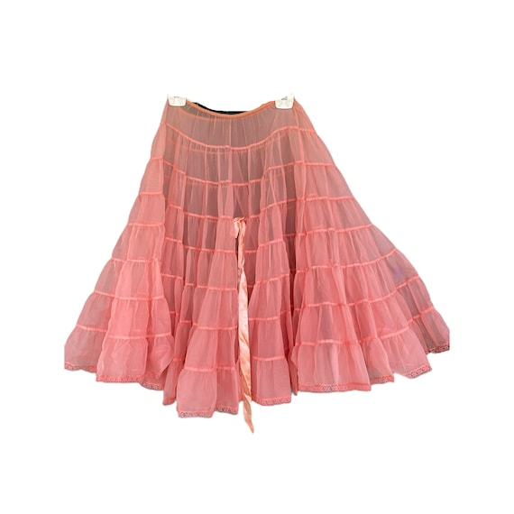Vintage 1950s Coral Pink Tiered Petticoat