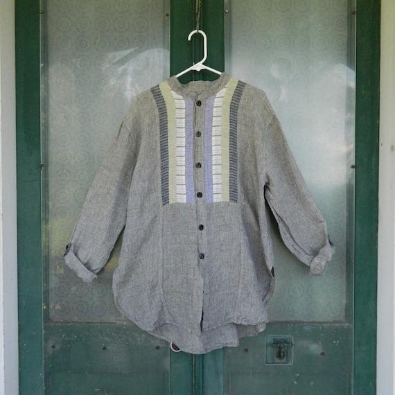 FLAX Engelhart Strip Shirt Big Tunic -S- Smokey Grid Linen