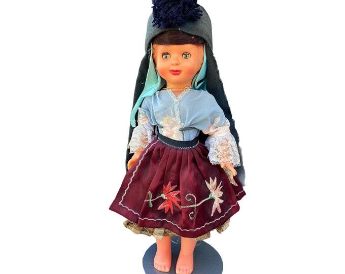 """Vintage Hard Plastic Doll 17"""" Italy"""