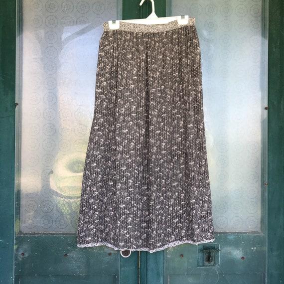 Angelheart Designs Engelhart January Thaw Straight Skirt -L- Black Botanical Reversible Rayon