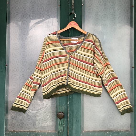 FLAX Engelhart Soleil Sweaters 1997 Cropped Cardigan -M/L- Cotton Stripe