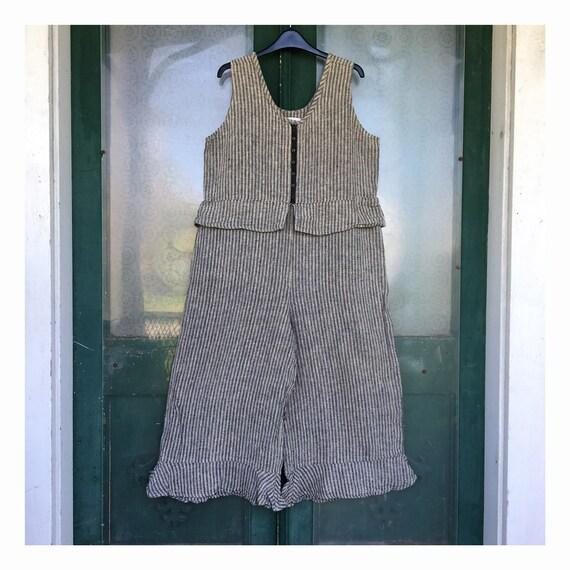 FLAX Engelhart Soleil 1999 Retro Bloomer Overalls -S- Black & Natural Stripe Seersucker Linen